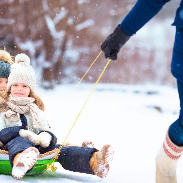 Children Sledding Winter
