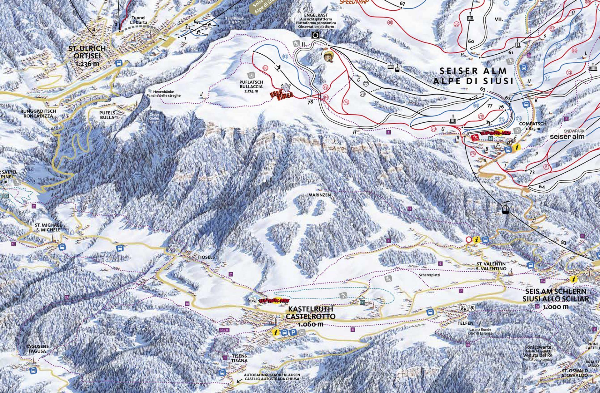 skikarte seiser alm