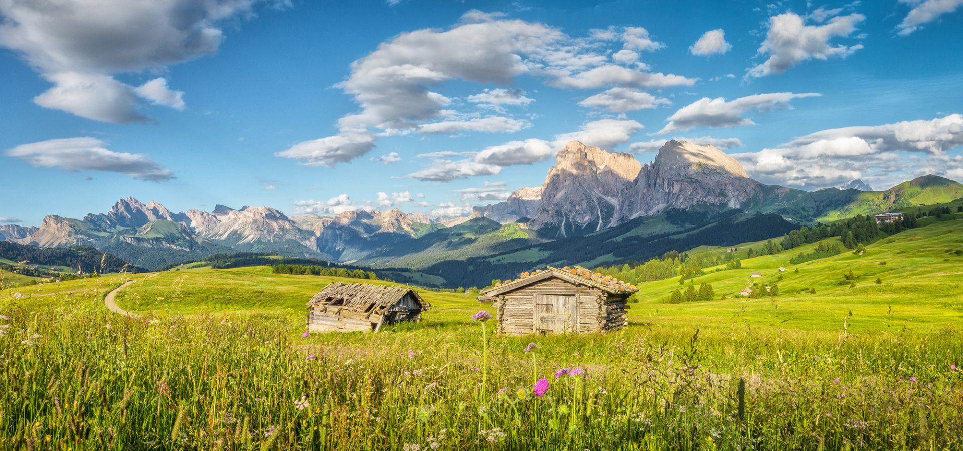 Südtirol Seiser Alm Almhütten im Sommer