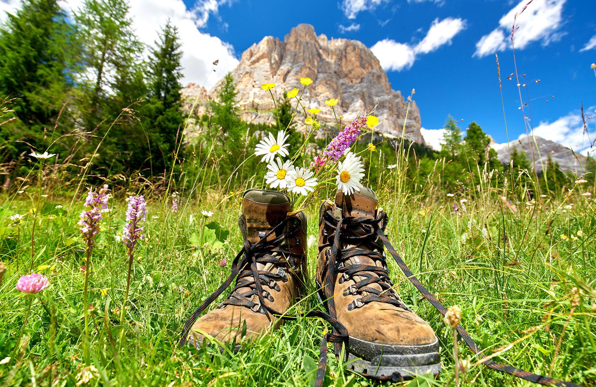 Pause bei der Bergwanderung, Wanderstiefel mit Blumen